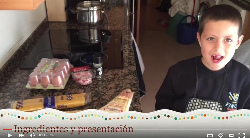 RECETA INFANTIL ESPAGUETTIS A LA CARBONARA DE VERDAD